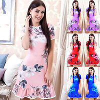 Ladies Bodycon Ruffle Frill Hem Mini Dress Short Sleeve Summer Floral Dresses