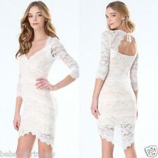 NWT Bebe white nude all over lace see through hi low bodycon top dress S small