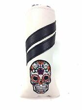 Sunfish White Leather golf blade putter headcover - SUGAR SKULL!