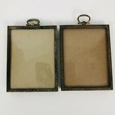 Pair Antique Rectangle Picture Frames Convex Glass Small Gold Tone Victorian