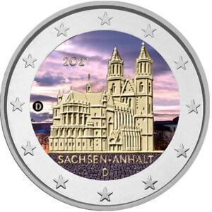 2 Euro Gedenkmünze BRD 2021 Sachsen Anhalt coloriert / Farbe / Farbmünze