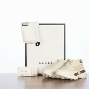GUCCI 890$ Rhyton Sneakers In Ivory Leather With Vintage Logo Print