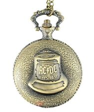 Ladies Mens AC/DC NECKLACE WATCH Fob Pocket Half Hunter Biker BRASS HELL'S BELLS