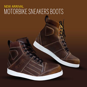 Motorbike Leather Boots Motorcycle Casual Sneakers Shoes Waterproof Touring Boot