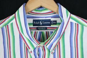 Ralph Lauren Mens sz XXL White Multi Color Stripe Custom Fit Dress Shirt