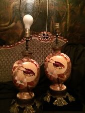 Amazing! Pair Antique 1920's Beautifully Hand Painted Milk Glass Table Lamps