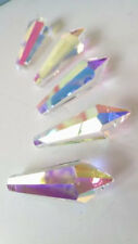 5 Iridescent AB 38mm Icicle Chandelier Crystals Asfour Lead Crystal Prisms