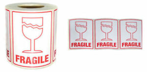 """25 FRAGILE with Glass Labels 75mm x 105mm (3"""" x 4"""") Self Adhesive Top Quality"""