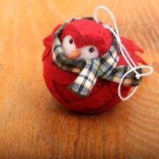 Vintage Red Felt Wrapped Bird Soft Figurine Hanging Folk Art Collectible