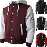 Mens Varsity Jacket University Letterman Baseball College Coat Fashion Hoodie