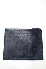 Zoe Jordan Womens Extra Large Coated Flat Zip Clutch Handbag Navy Blue