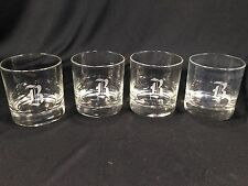 "(4) Vintage Clear Glass Drinking Glasses Monogrammed ""B"" B - NICE Condition 3.5"""