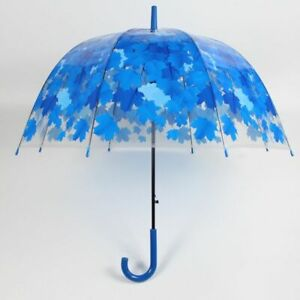 Transparent Umbrella Semi Automatic Leaf Designs Rain Sun Protector Long Handle