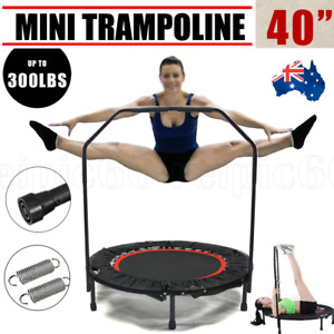 Safety MINI TRAMPOLINE 40'' HANDRAIL EXERCISE WORKOUT GYM CARDIO SPRING INDOOR