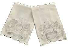 ADORABLE PAIR OF ANTIQUE APPENZELL EMBROIDERED TENNIS PLAYERS GUEST TOWELS