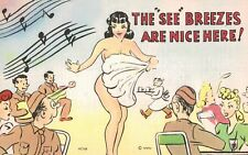"""World War II,Humor,Pin-Up,""""The 'See' Breezes are Nice Here"""",c.1940s"""