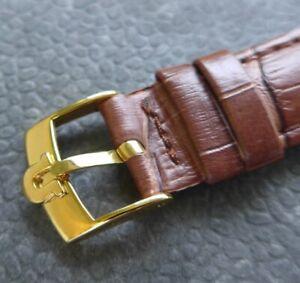 Omega vergoldete Edelstahl Dornschließe (NOS) mit 18mm Quali-Lederband -braun-