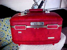 Vintage American Tourister Travel Makeup Case Luggage w/ Tray & Mirror