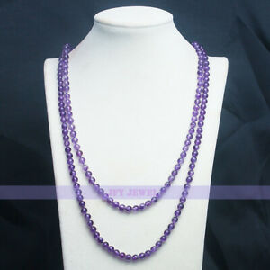 Genuine Natural 6mm Round Amethyst Necklace 46 inch long Knitted Endless