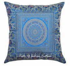 "Mandala 17"" Turquoise Blue Pillow Cushion Cover Brocade Sofa Throw India Decor"