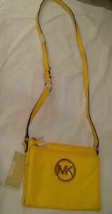 NWT Michael Kors Fulton Leather Crossbody Bag Wallet Citrus Yellow/Gold Tone