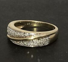 9ct gold diamond ring, UK Size O 1/2, 0.19CT, actual one. Exc cond'n.