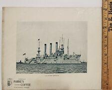 Antique Advertising Print - USS Cruiser Brooklyn -Photo C.H. Graves- Parke & Co