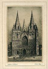 Catedral de Lichfield»  por Adrian Hill (1875-1977). Firmado y titulado a mano p