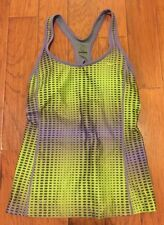 Womens Nike Dri-Fit Purple Green Gray Print Design Athletic Top Bra Support Sz M