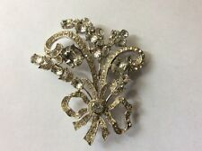 Bogoff flower clear rhinestone brooch pin