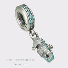 Authentic Pandora Silver Hanging Enamel Teal CZ Tropical Seahorse Bead 791311MCZ