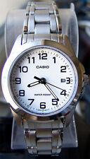 Casio LTP-1215A-7B2 Ladies White Dress Date Watch Steel Band Analog Brand New