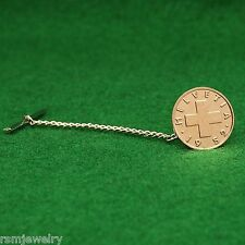 Tie Tack, Swiss Bronze Cross Coin, 1 Rappen Switzerland Helvetia Lapel Pin