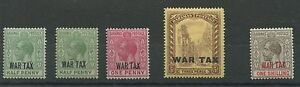 Bahamas SG96 (+shade) 97 98 99 1918 War Tax 1/2d to 1s London overprint Mounted