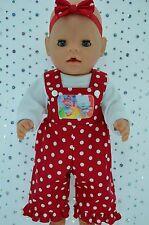 "Play n Wear Doll Clothes For 17"" Baby Born POLKA DOT BIB DUNGAREE~TOP~HEADBAND"
