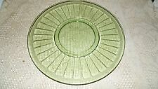 FEDERAL GREEN DEPRESSION GLASS OPTIC PANEL PLATTER VASELINE GLASS