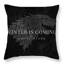"""Game of Thrones Winter Coming Stark 17"""" Square Cushion Cover Pillow Case Black"""