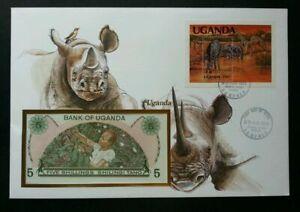 [SJ] Uganda Wild Animal 1983 Giraffe Rhinoceros Wildlife FDC (banknote cover)