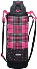 Thermos vacuum insulation sports bottle [one-touch open type] 1.5L Pink Check FF