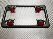 BLACK MOTORCYCLE License Plate Frame & 4 Red Reflectors Chris Product HARLEY