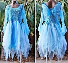 Women's Fairy Dress Costume with Sleeves & Wings - Light Blue/White
