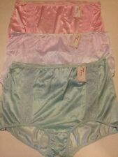 NYLON GRANNY SISSY PANTIES VTG LOT 3 SIZE 16 SHINY WHITE PINK BLUE NEW 334XXX