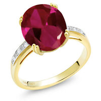 5.04 Ct Oval Red Created Ruby White Diamond 10K Yellow Gold Ring