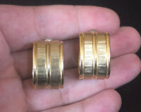 Vintage Textured Gold Tone Curved Hoop Pierced Earrings