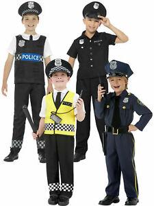 Boys Police Officer Costume Kids Policeman Cop Fancy Dress Uniform Book Day