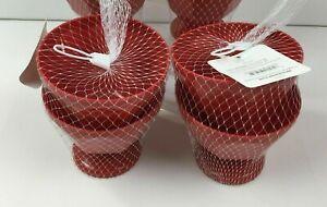 Red Kitchen Set of 4 Plastic 17oz Ice Cream Sundae Bowls Dessert Picnic Pool BBQ