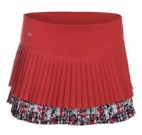 BOLLE Checkmate Pleated Tier Red White Black Tennis Skort Shorts NEW Womens M L