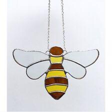 Fatto A MANO VETRO COLORATO Honey Bee Suncatcher tecnica Tiffany glass vetro giallo