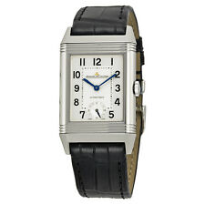 Jaeger Lecoultre Grande Reverso Automatic White Dial Black Leather Mens Watch