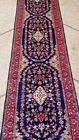Stunning Three Medallion Oushak Blue with Red Combination Hall Way Oriental Rug